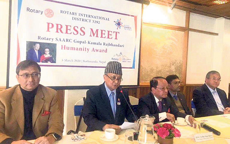 Applications open for Rotary SAARC Gopal-Kamala Rajbhandari Humanity Award