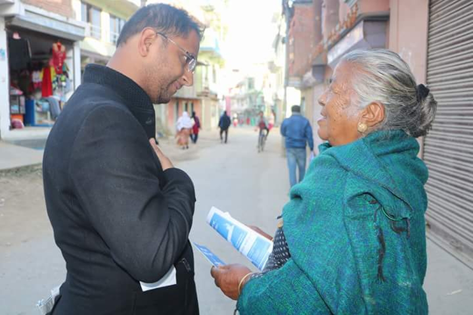 Bibeksheel Sajha candidates with voters (With photos)