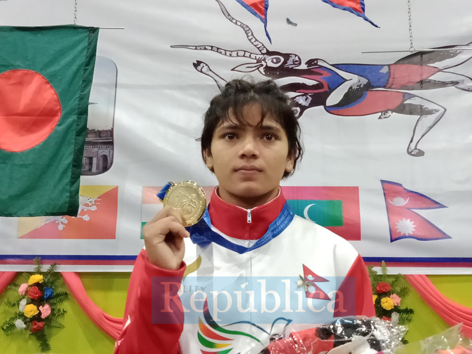Sangita Dhami wins first international medal for Nepal in wrestling (with photos)