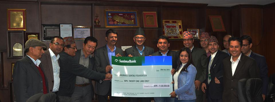 Sanima Bank supports Rs. 2.1m to Dhurmus Suntali Foundation