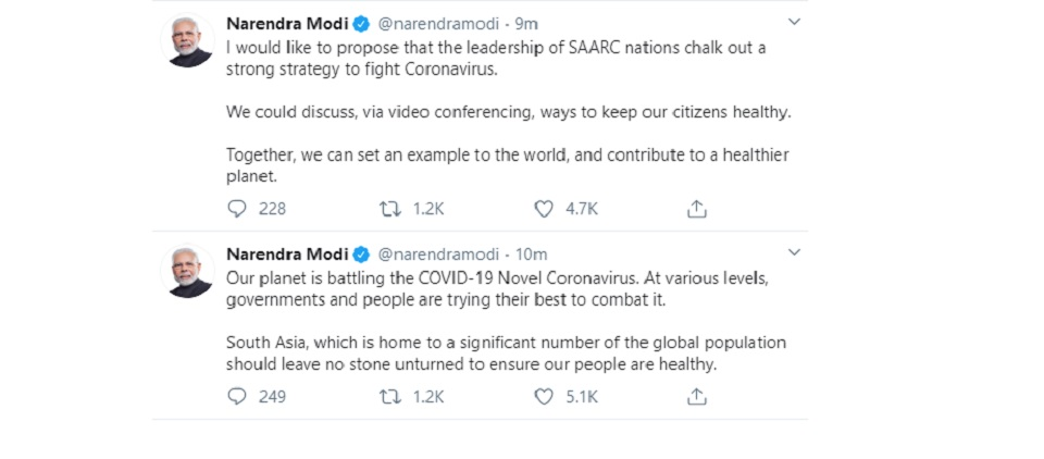 Modi urges SAARC leaders to chalk out strategy against coronavirus