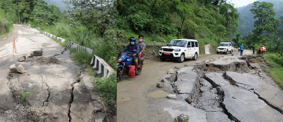 PHOTOS: Following heavy rainfall, Siddhartha Highway caves in at various places