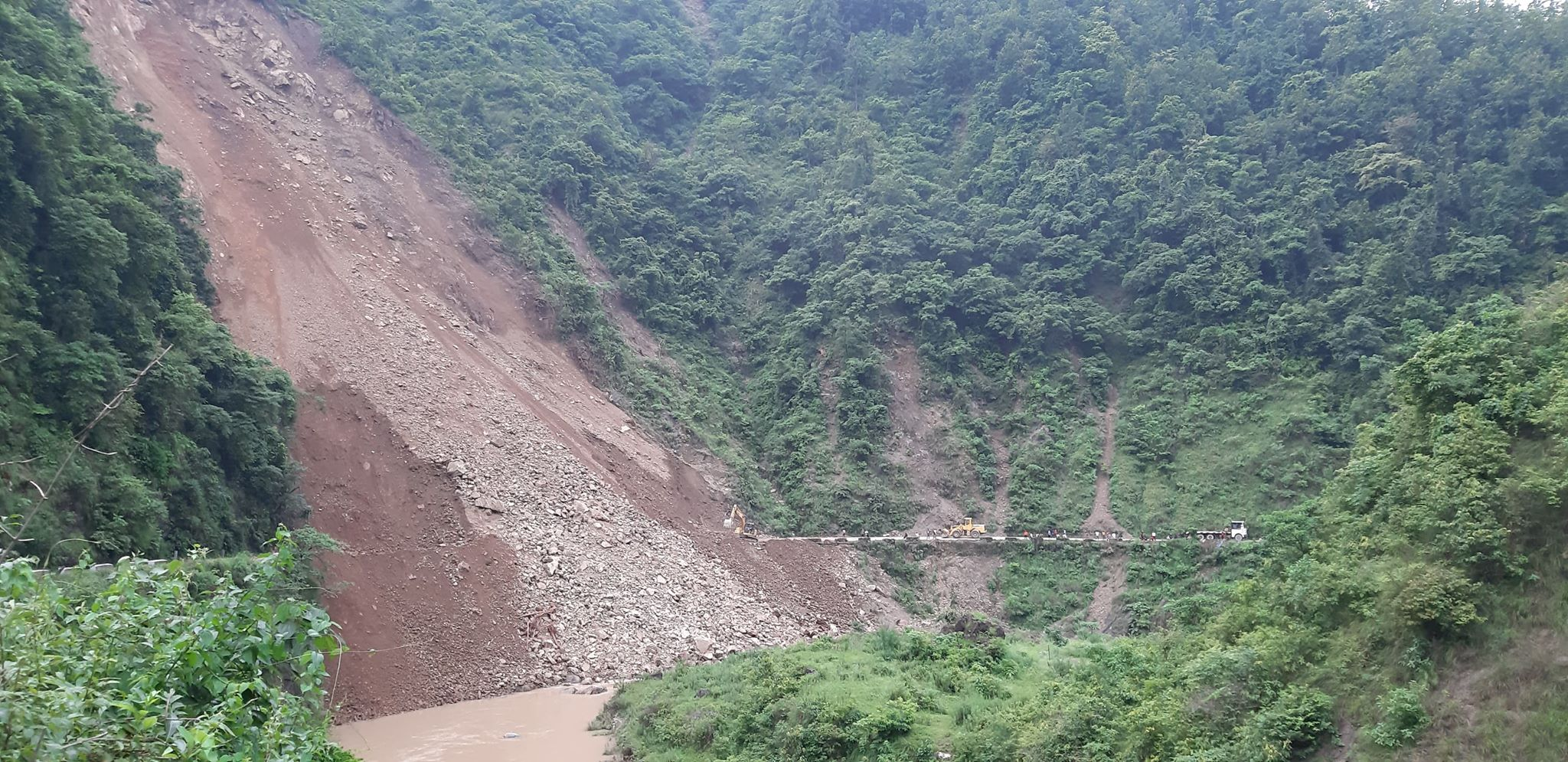Siddhartha Highway blocked for the past four days due to rain-triggered landslides