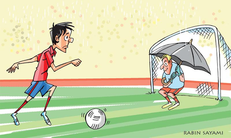 Thapa recalls goalie  with umbrella in rare match