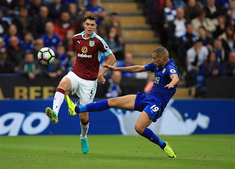 Leicester put three past Burnley as Slimani shines on his debut