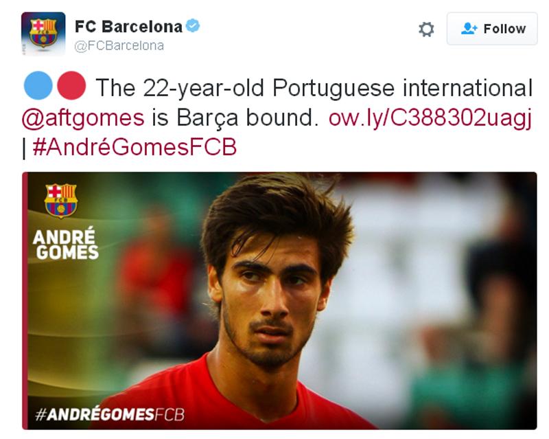 Barcelona signs Portugal midfielder Andre Gomes