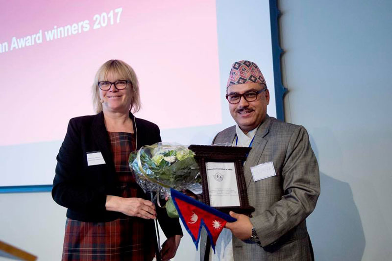 FSCN's Thapa receives International Humanitarian Hero 2017 Award