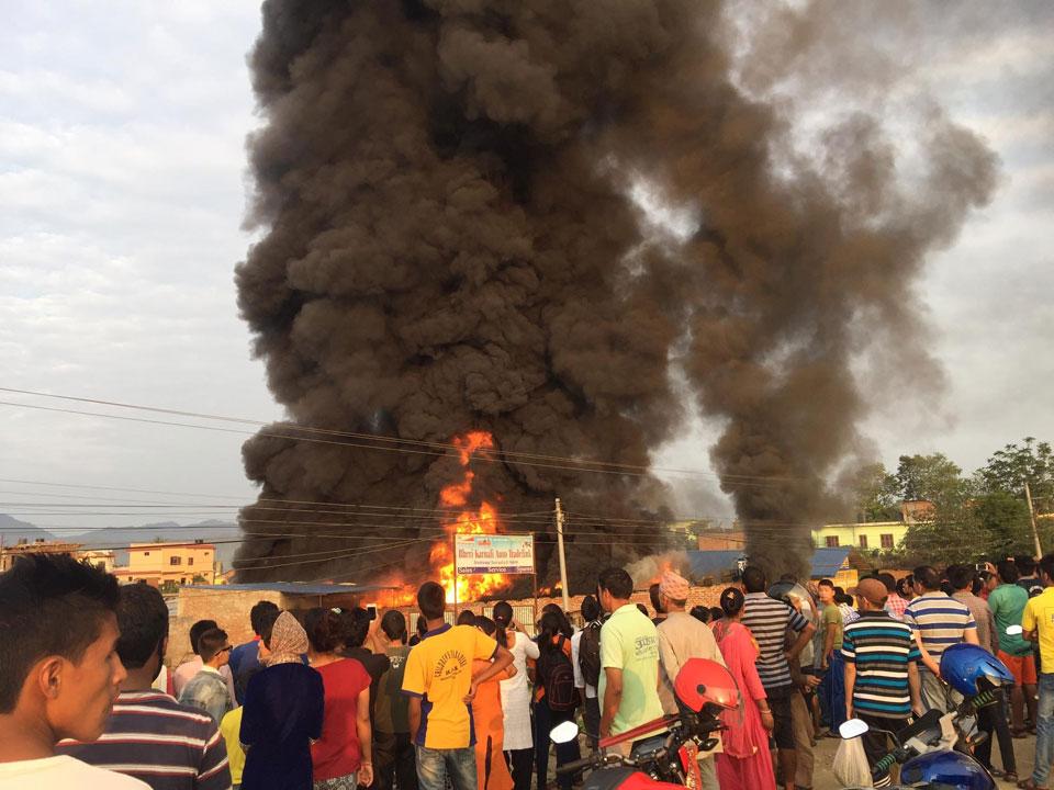 A big fire breaks out in Birendranagar