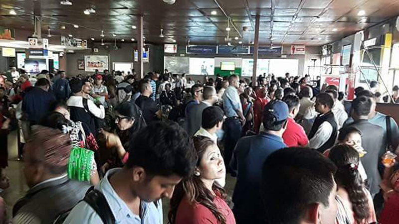 TIA lounge jam-packed with passengers as all domestic flights delayed