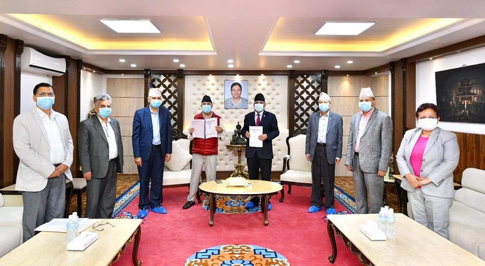 NCP taskforce submits its report to PM Oli, Chairman Dahal
