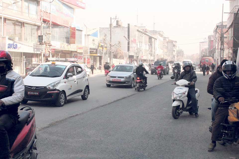 Blacktopping begins at Tripureshwar -Kalimati road section