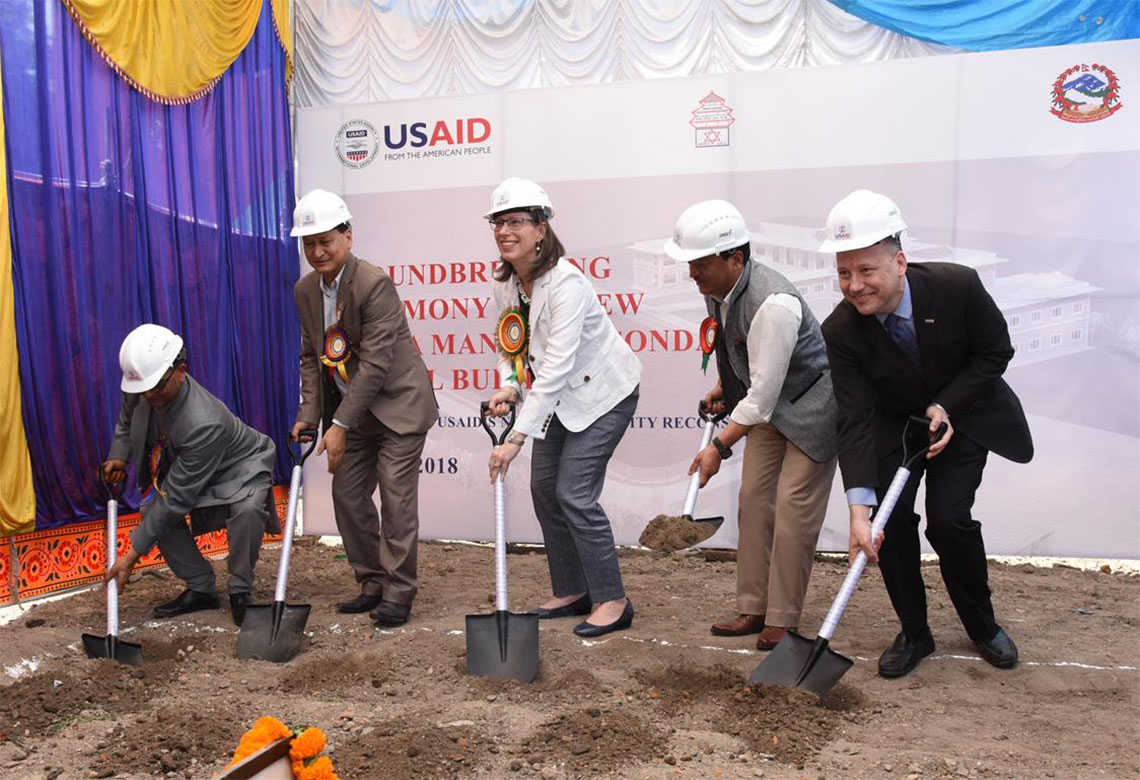 US and Nepal break ground to rebuild first all girls' school in Kathmandu
