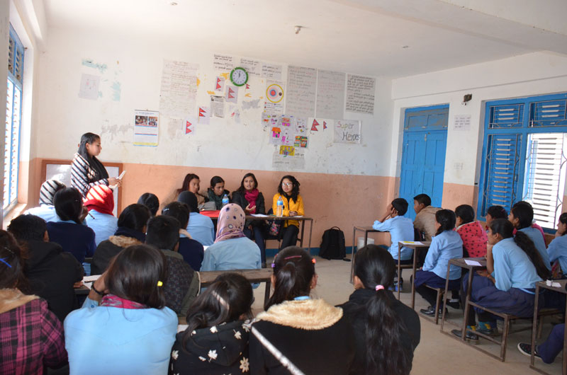 USYC 2015 mentors secondary level students in Sindhupalchowk
