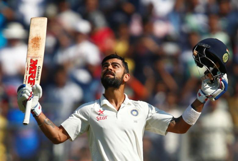 Kohli ton stretches India lead in Kolkata pink-ball test