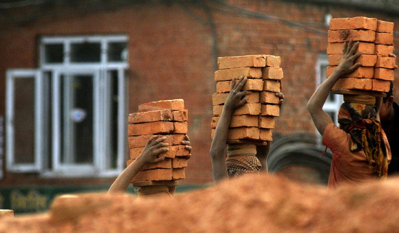 Pits dug for making bricks in Bhaktapur risking lives of children