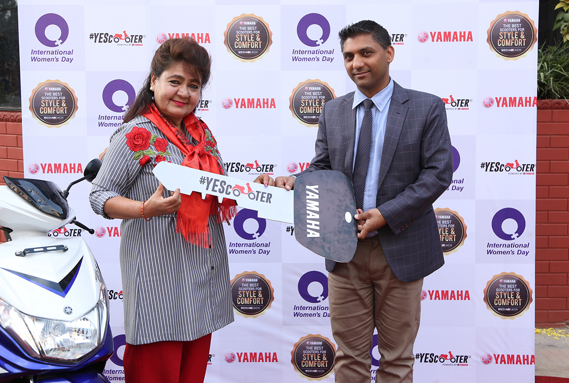 'Probably' the first woman scooter rider of Nepal honored