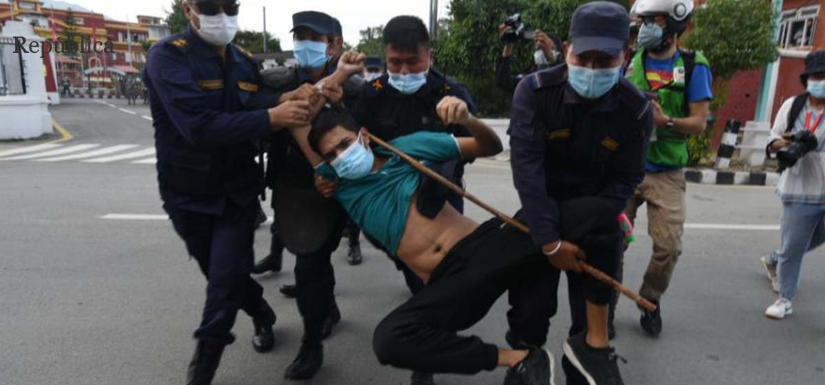 NC cadres protesting against house dissolution arrested in capital (photo feature)