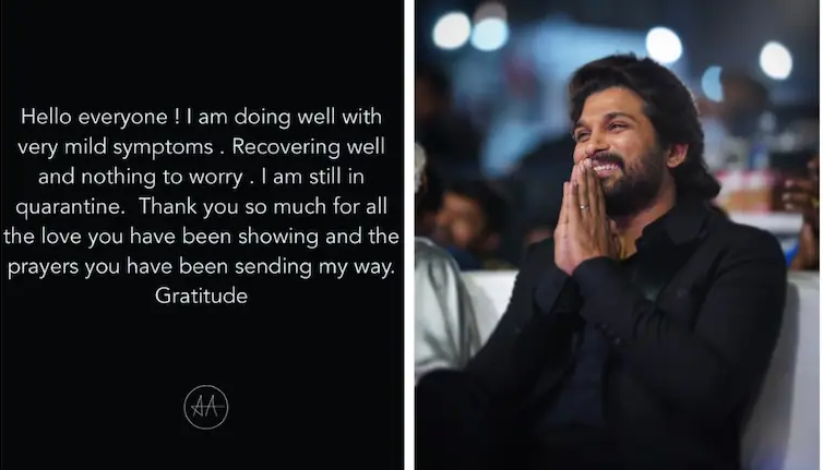 Allu Arjun shares health update, says he has mild Covid symptoms