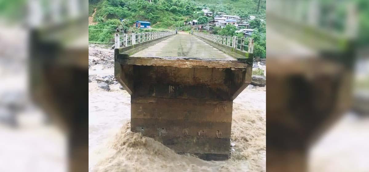 Bridge in Gorkha connecting Barpak left severely damaged