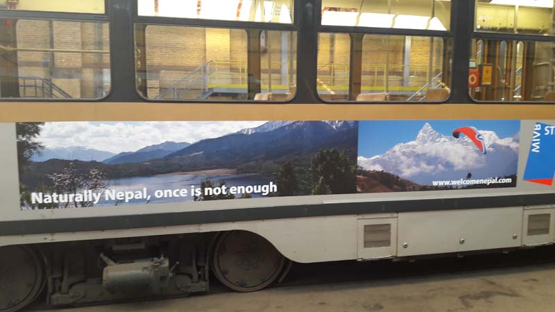 Nepal advertised on Brussels buses