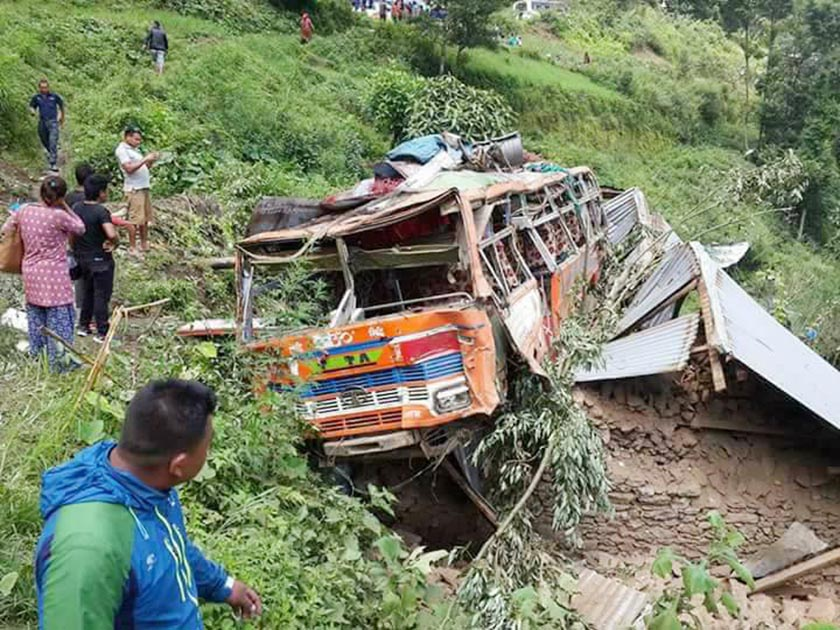 Death toll reaches to 7 in Nuwakot bus accident