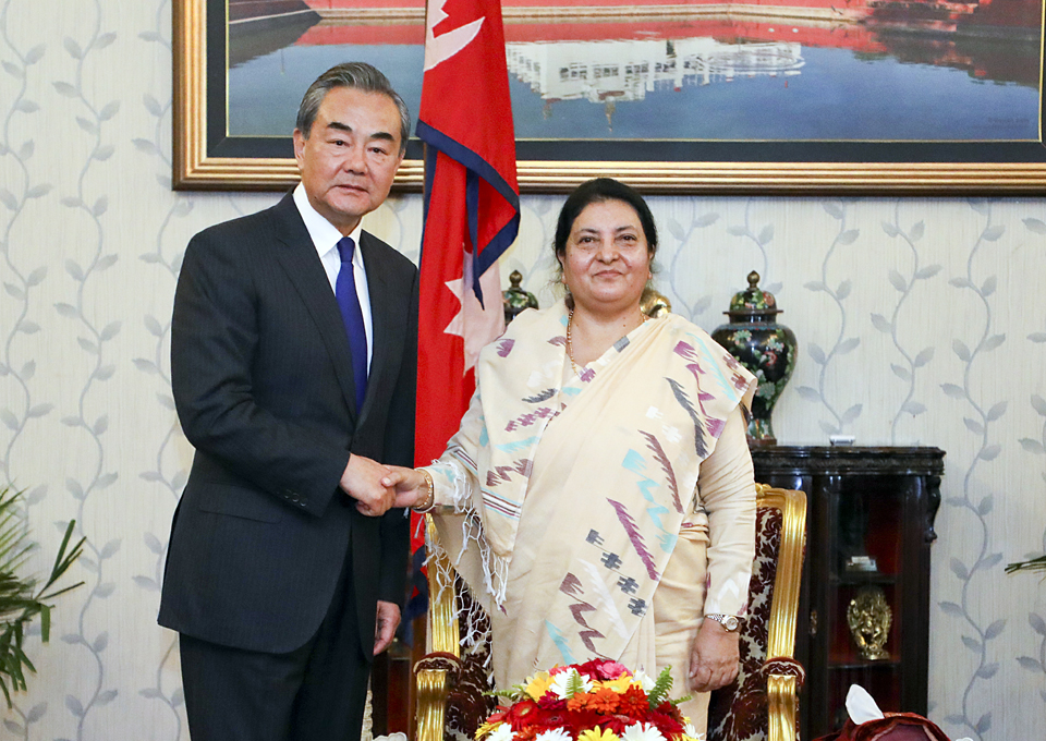 Visiting Chinese FM calls on President Bhandari