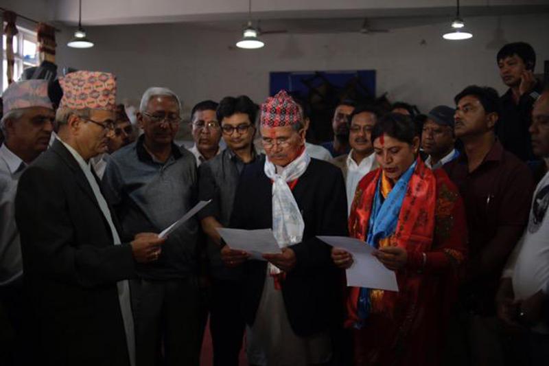 Newly elected Lalitpur mayor and deputy mayor sworn in