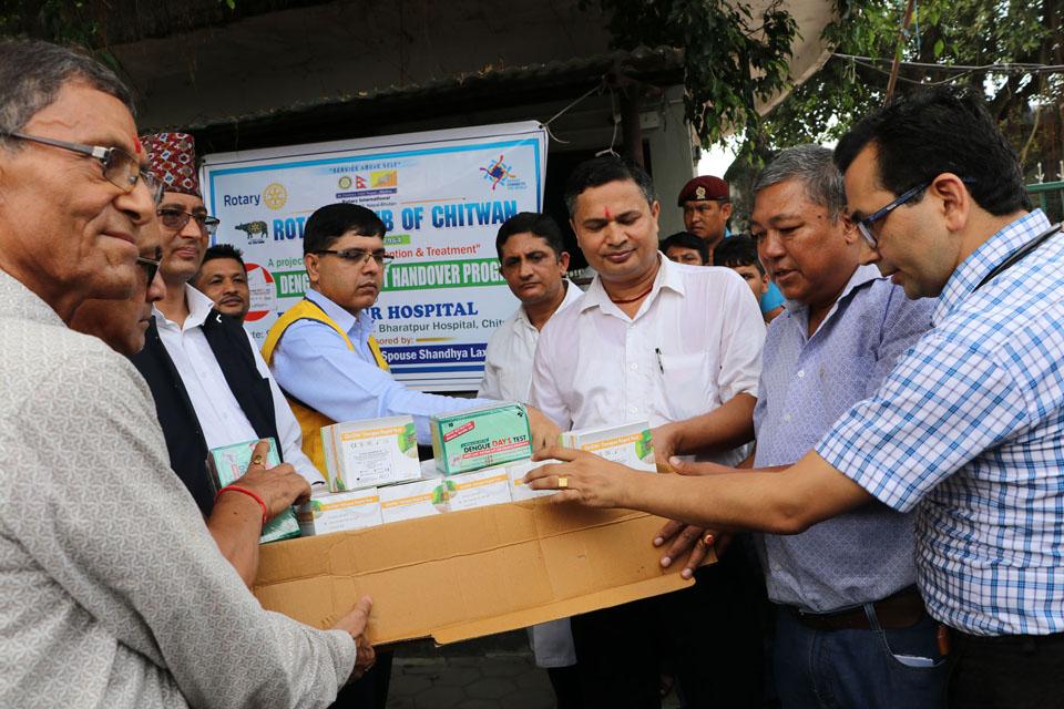 Bharatpur Hospital given dengue test kits in donation