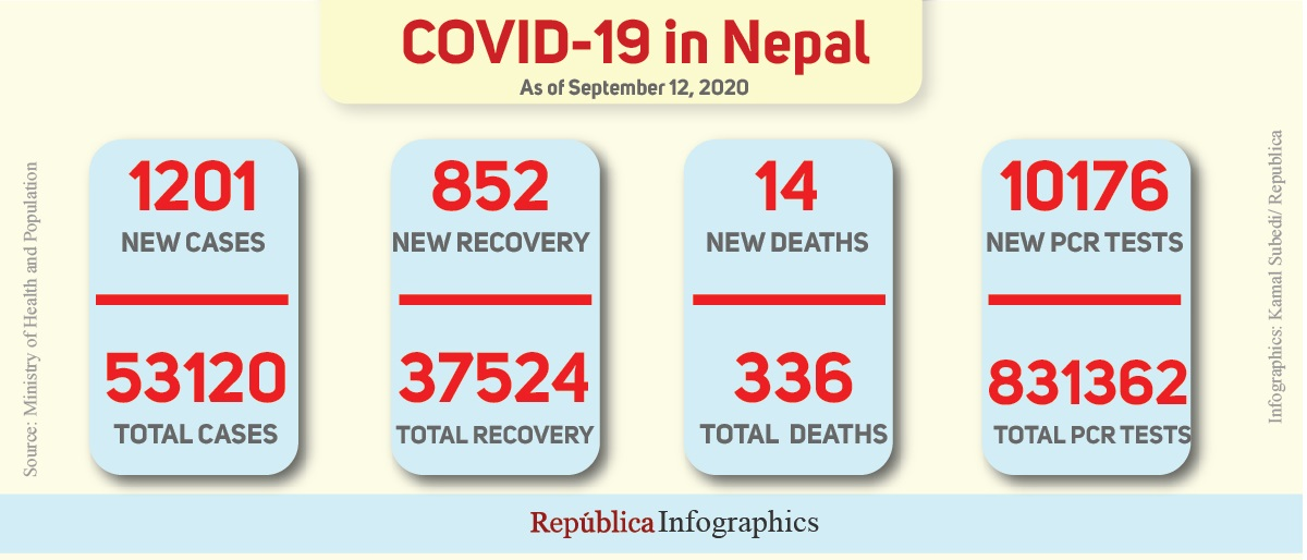 With 1,201 new cases in past 24 hours, Nepal's COVID-19 caseload goes past 53,000