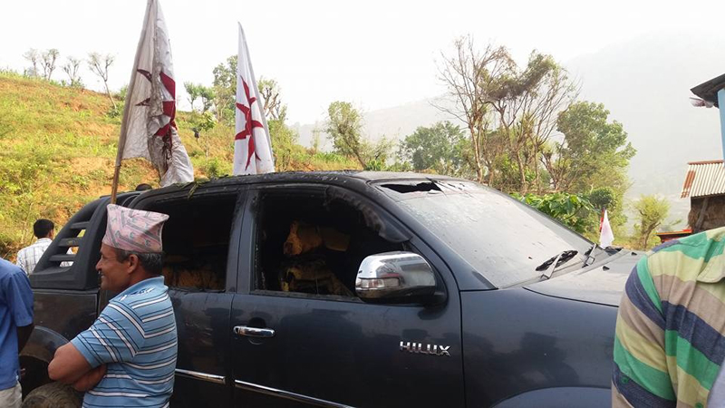 Unidentified group sets fire to UML candidate's vehicle
