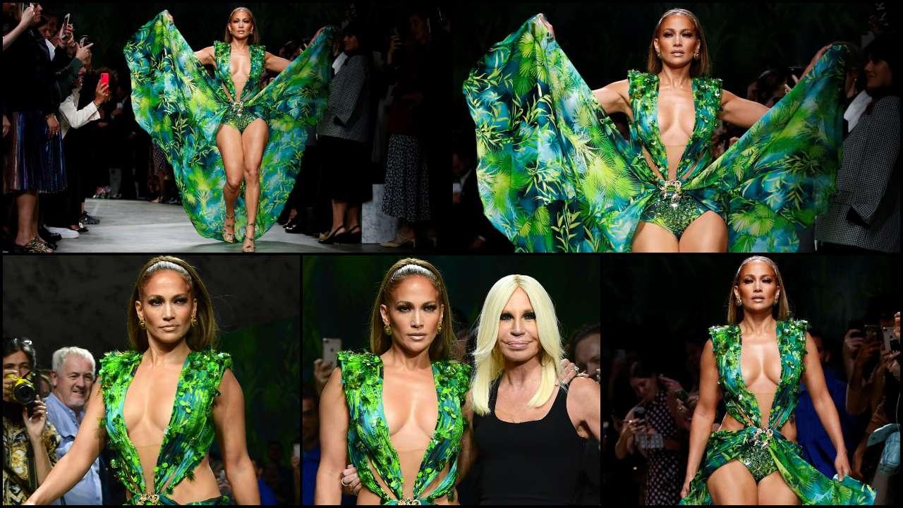 Jennifer Lopez closes Versace Milan show in that jungle dress