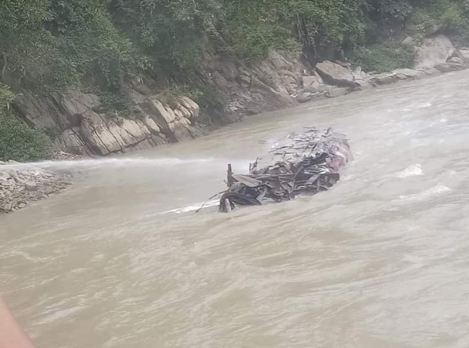 Fuel tanker plunges into Trishuli River, driver and helper remain unscathed
