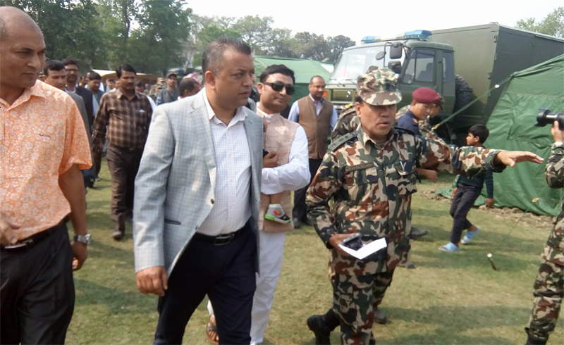 Health Minister Thapa observes health camp in Rauthat