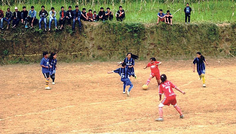 Football craze in Panchthar during winter