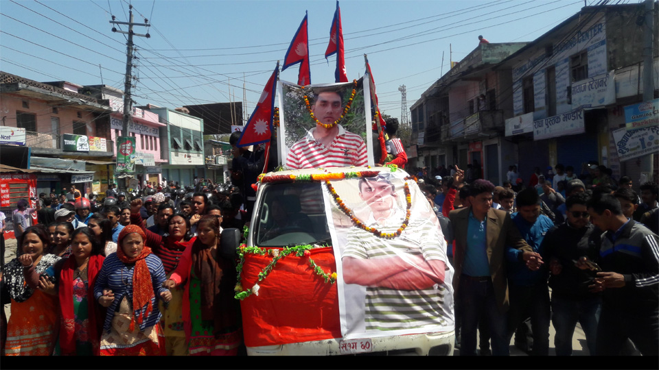Funeral procession for Gautam begins from Dhangadhi