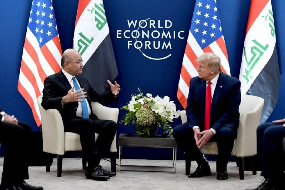 Iraqi president meets Trump in Davos, discuss foreign troops cut: Iraqi statement