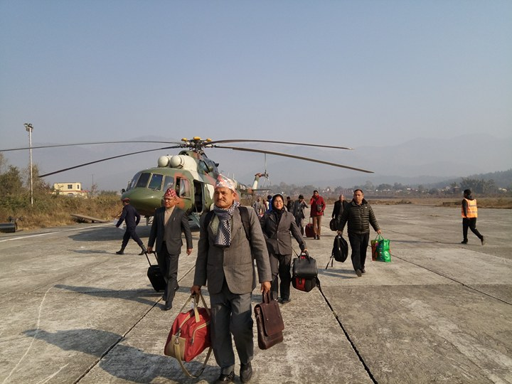 Provincial Assembly members arrive by chopper for oath