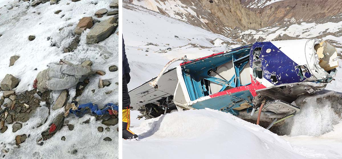 Nepal Army-led mountain cleaning team finds 15-year-old helicopter wreckage, human remains