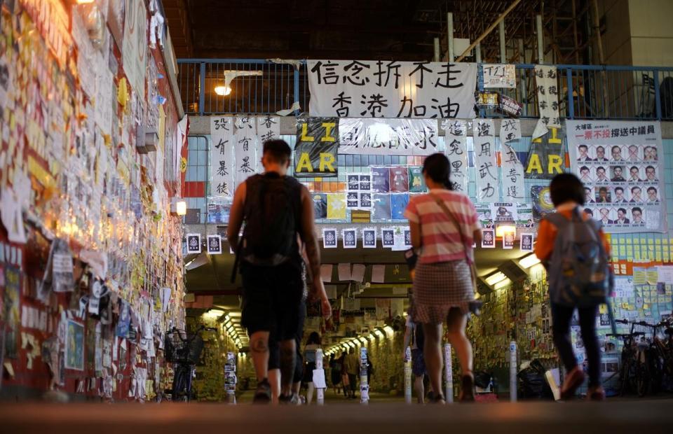 Pro-China groups tear down some of Hong Kong's 'Lennon Walls'