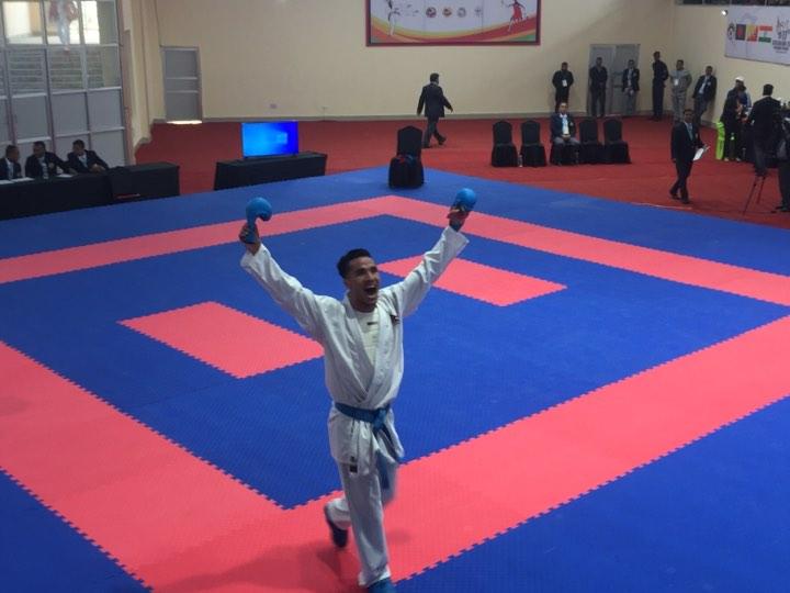 Nabin Rasaili wins goldin Men'sKarate Individual Kumite