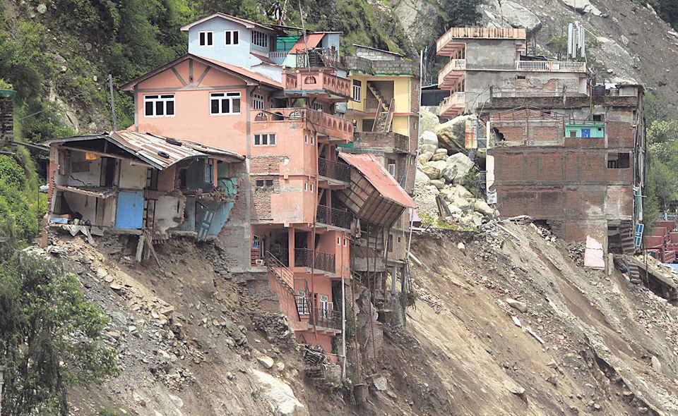10 families displaced by landslide, 20 at high risk in Sindhupalchowk