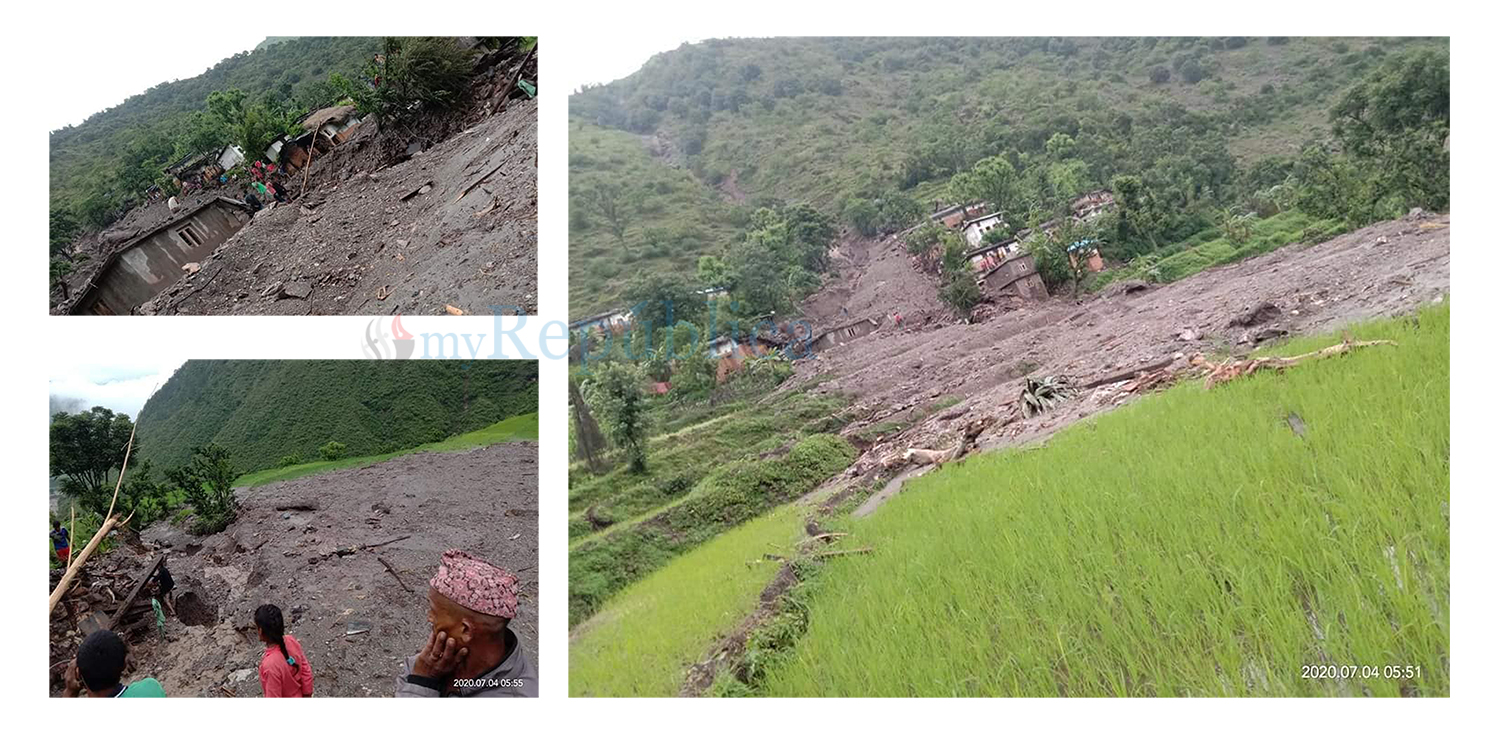 17 houses swept away by landslide in Bajhang, huge human loss feared