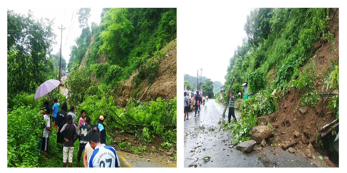 Road disrupted and houses swept away by landslides in Gorkha
