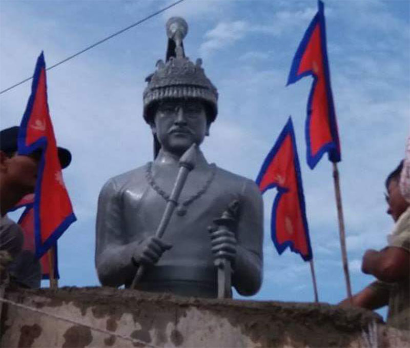 Tension in Dhamboji after late king Birendra's monument erected