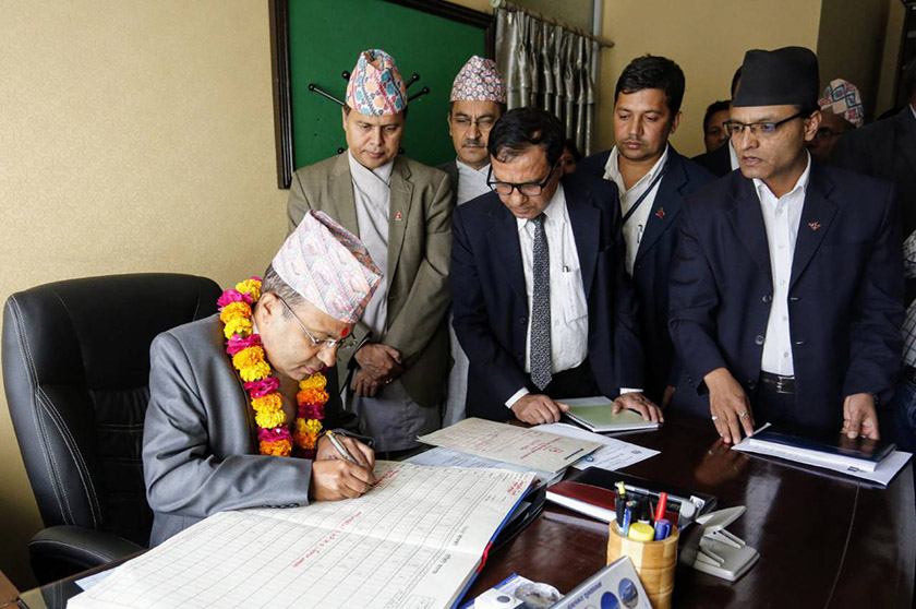 Newly elected Chief Secretary Regmi assumes his office