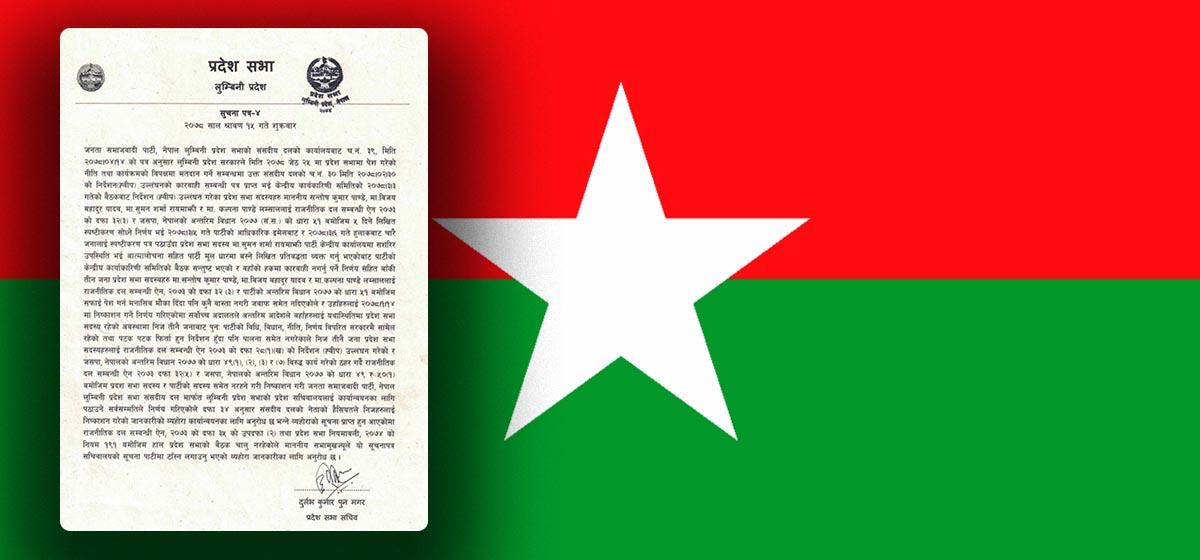 JSP sacks three of its lawmakers in Lumbini Province