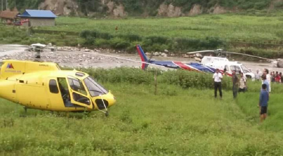 Three choppers make 'safe landing' due to bad weather