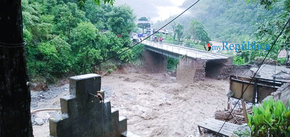 Prithivi Highway disrupted as road depresses at Mauwakhola