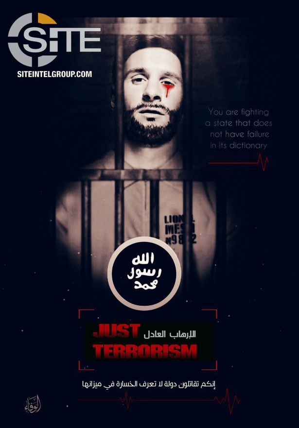 Fears for Lionel Messi's safety after ISIS releases his sick poster of crying blood