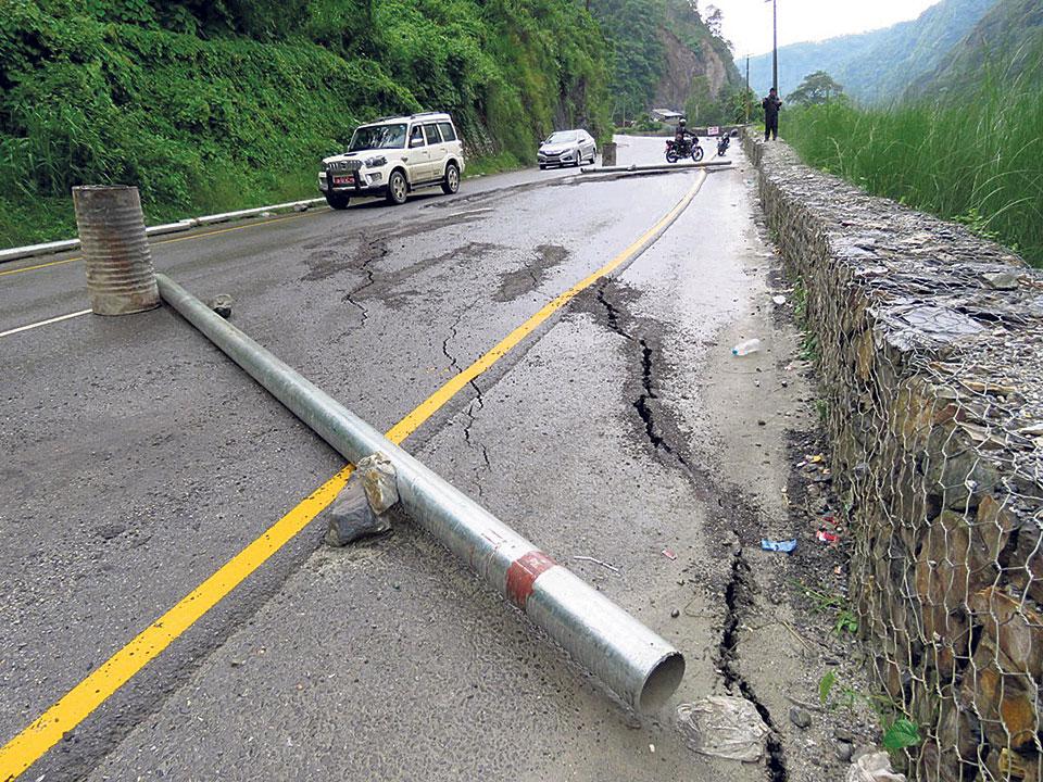 20 meters of Narayanghat- Mugling road subsides 1 foot